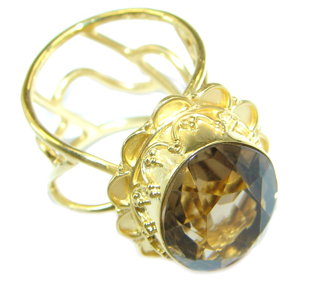 Beautiful Champagne Smoky Topaz 18 ct. Gold plated Sterling Silver Ring size adjustable