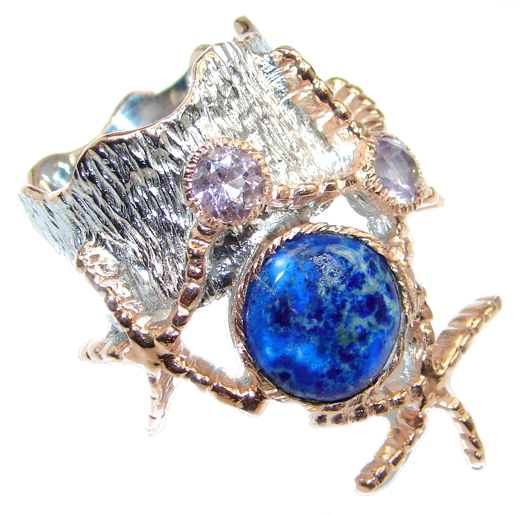 Neptun Irresistible  Blue Sodalite Rose Gold over Sterling Silver Ring s. 7