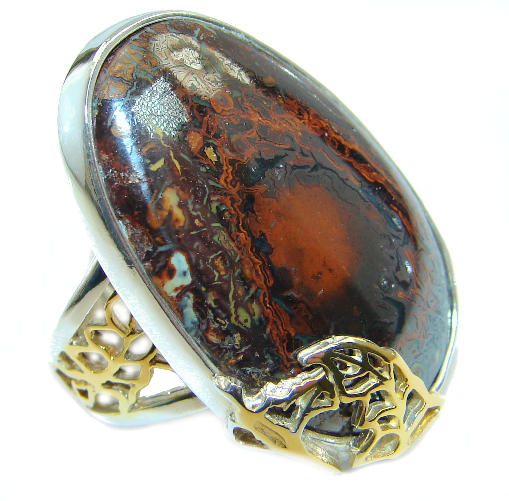 Amazing Australian Koroit Opal Two Tones Sterling Silver Ring size adjustable
