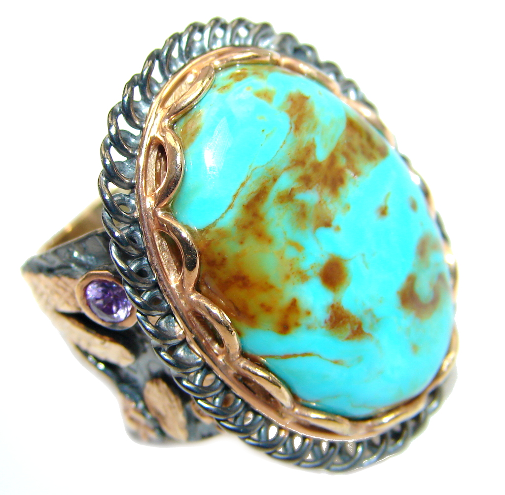 Corrico Lake Turquoise Rhodium  Rose Gold Plated over Sterling Silver ring s..