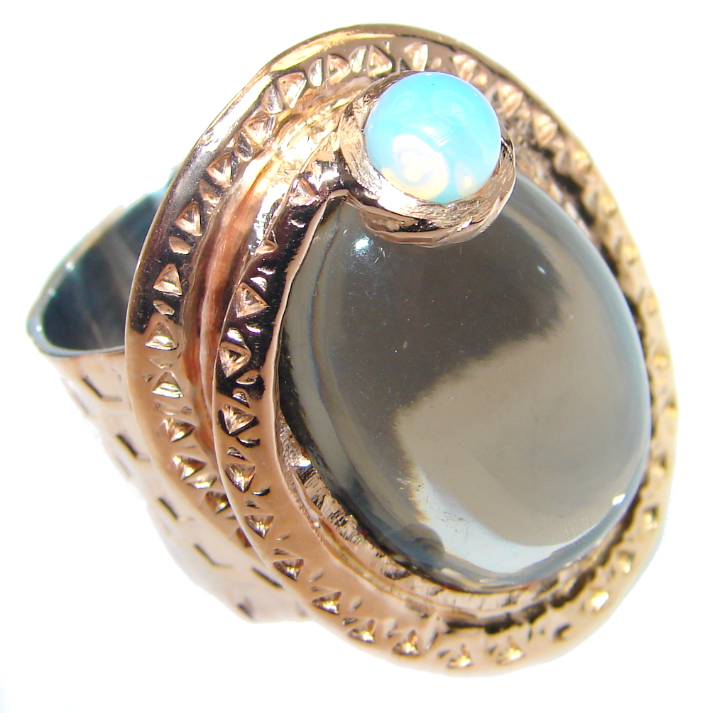 Beautiful Champagne Smoky Topaz Gold plated Sterling Silver Ring size 7