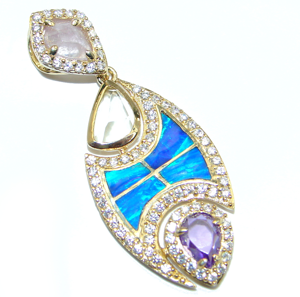 Simple Style  lab. Blue Opal Multigem Gold plated over Sterling Silver Pendant
