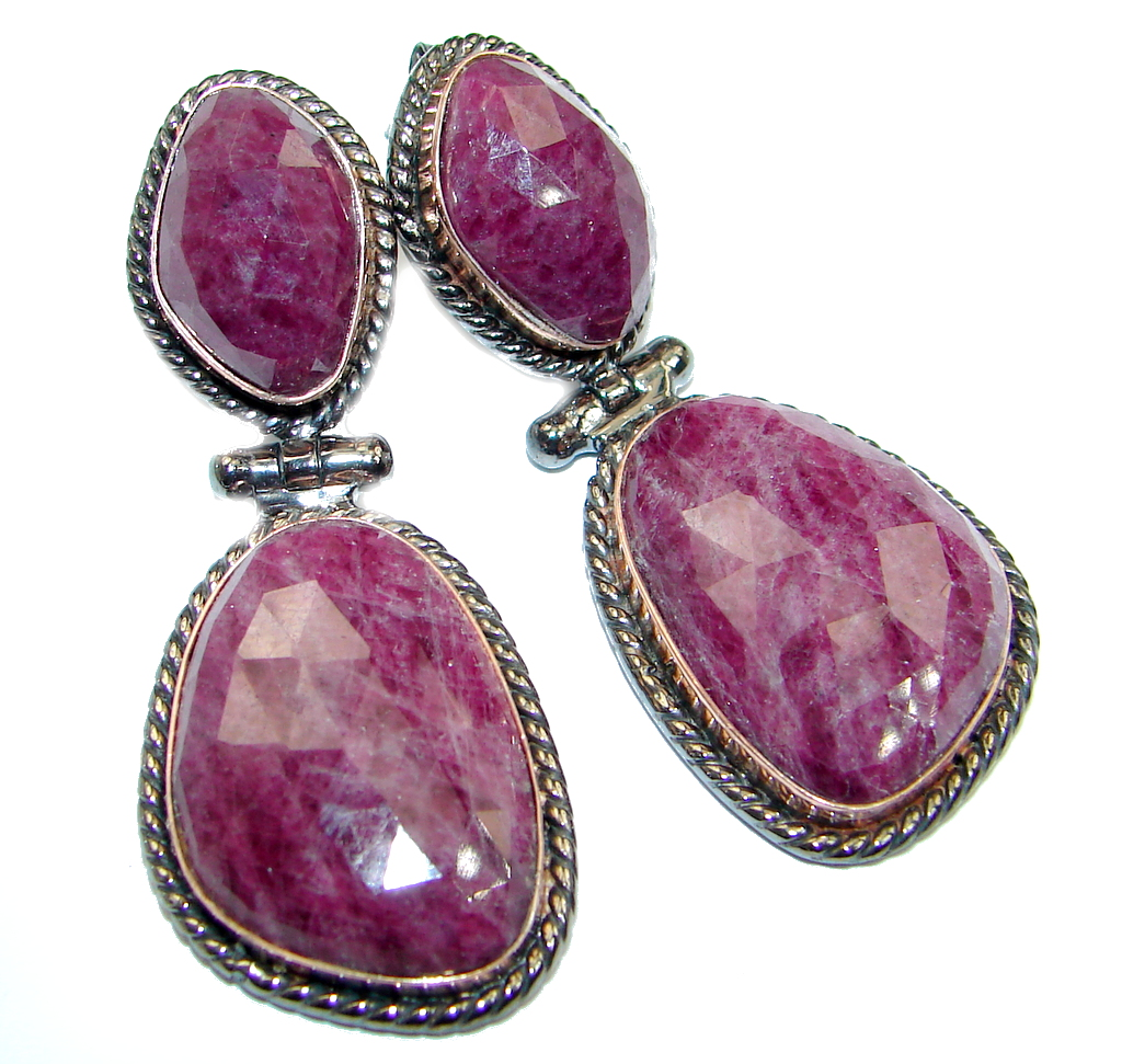 Trendy Ruby Rose Gold Rhodium plated over Sterling Silver handmade stud earrings