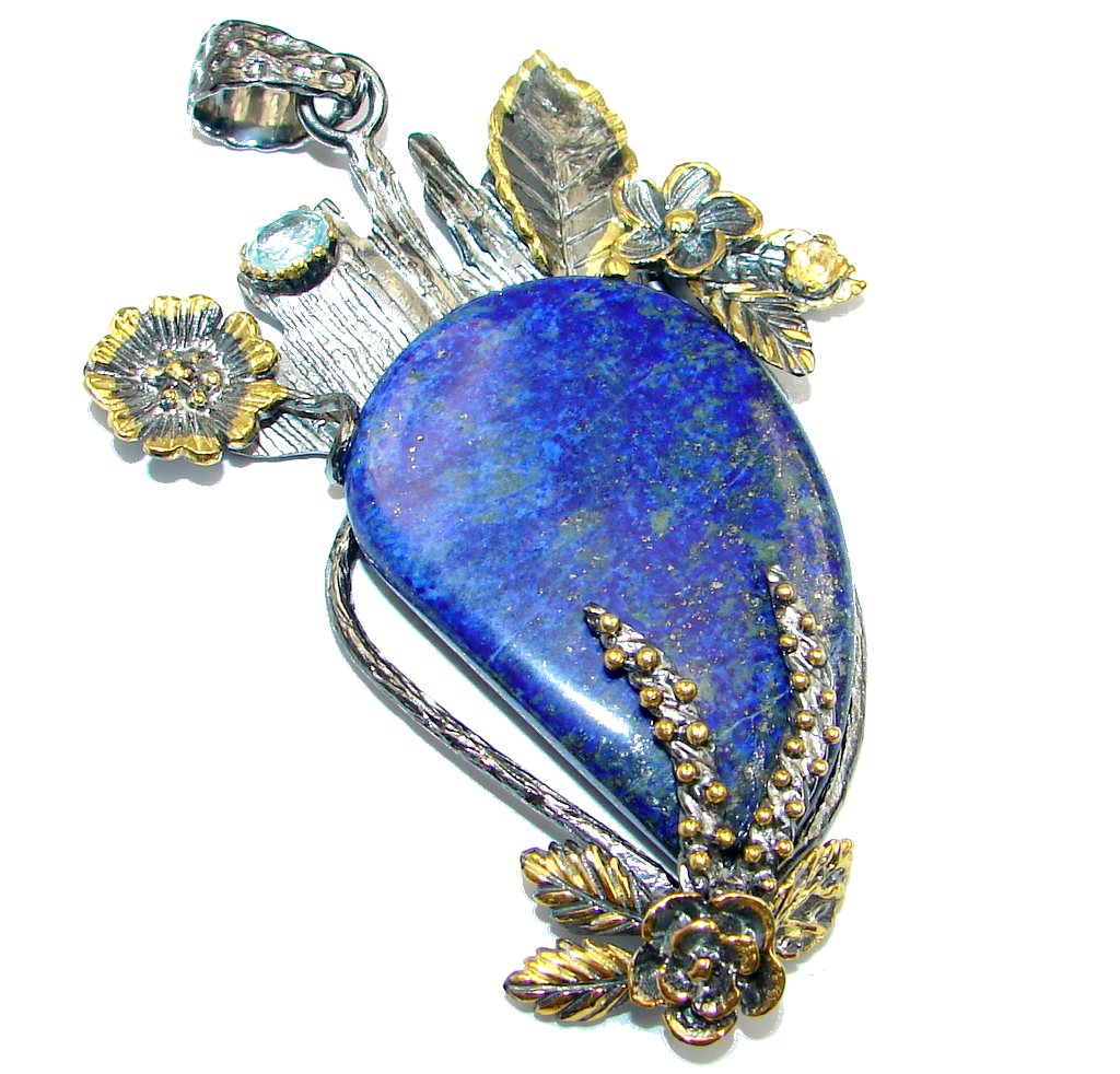 Large Blue Lapis Lazuli  Gold Rhodium plated over Sterling Silver handmade P..
