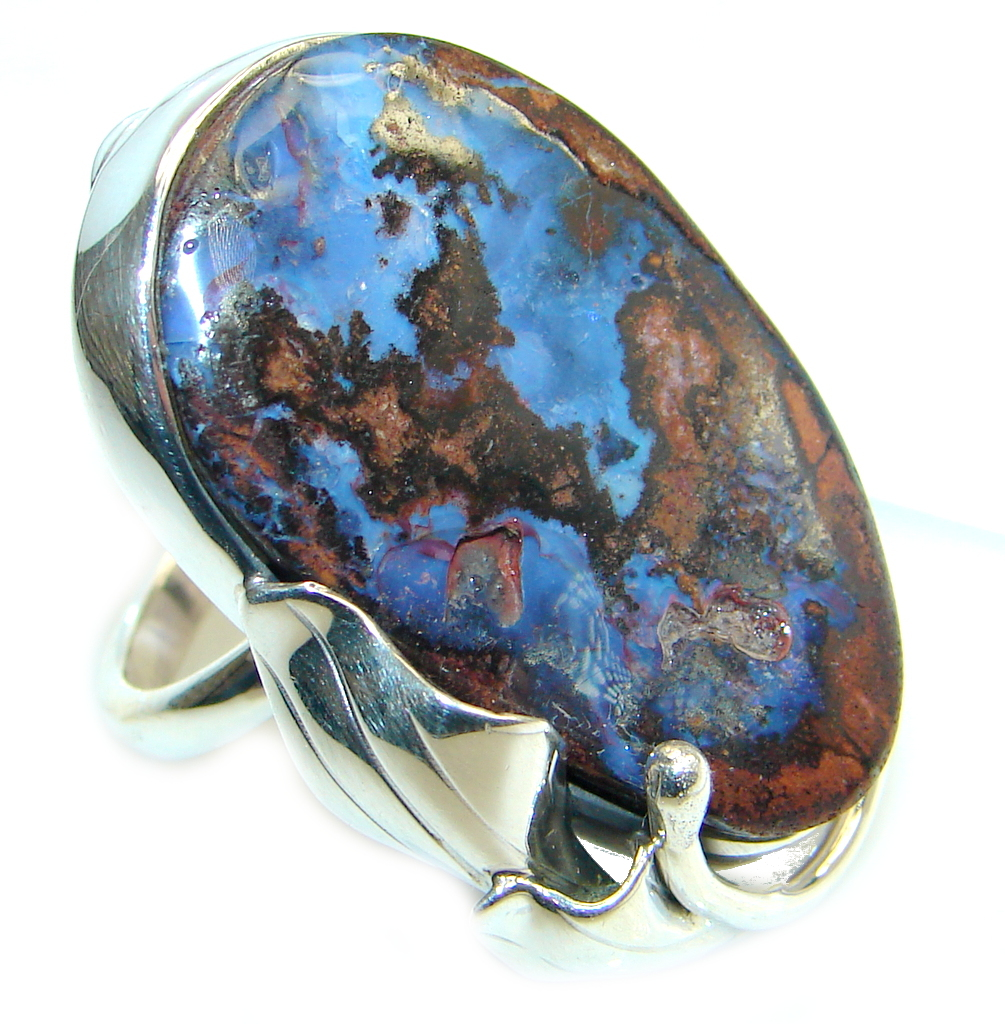 Large   Australian Beauty  Boulder Opal  Sterling Silver Ring Size Adjustable