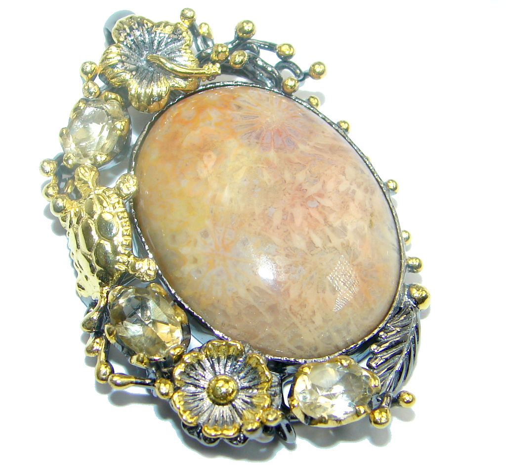 Authentic  Natural  Fossilized  Coral Citrine Gold plated over Sterling Silv..