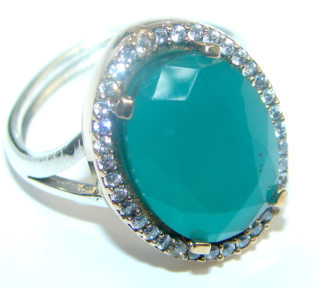 Created Emerald & White topaz Sterling Silver Ring s. 8 1/2