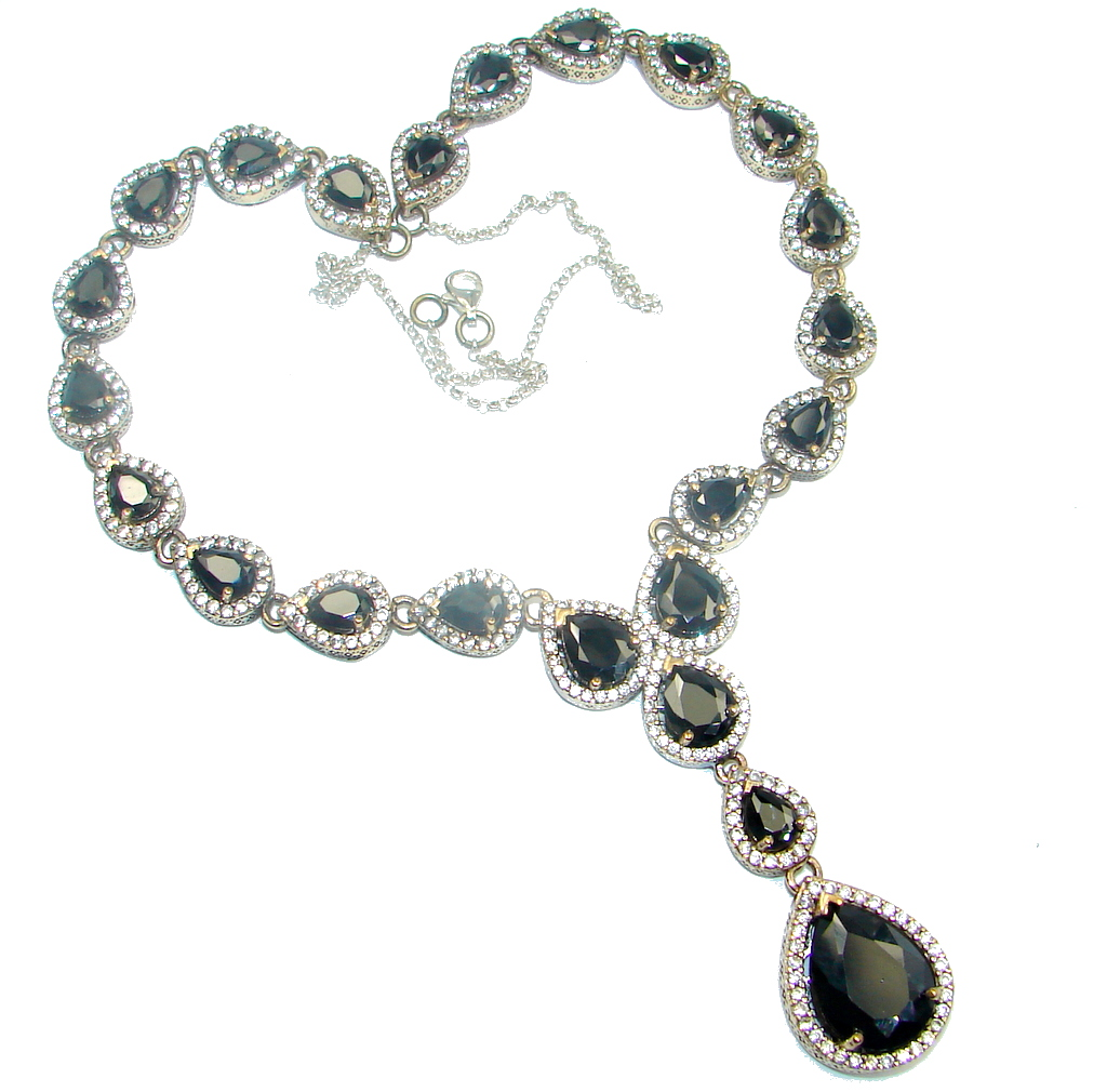 Victorian Style faceted Onyx & White Topaz copper over Sterling Silver necklace