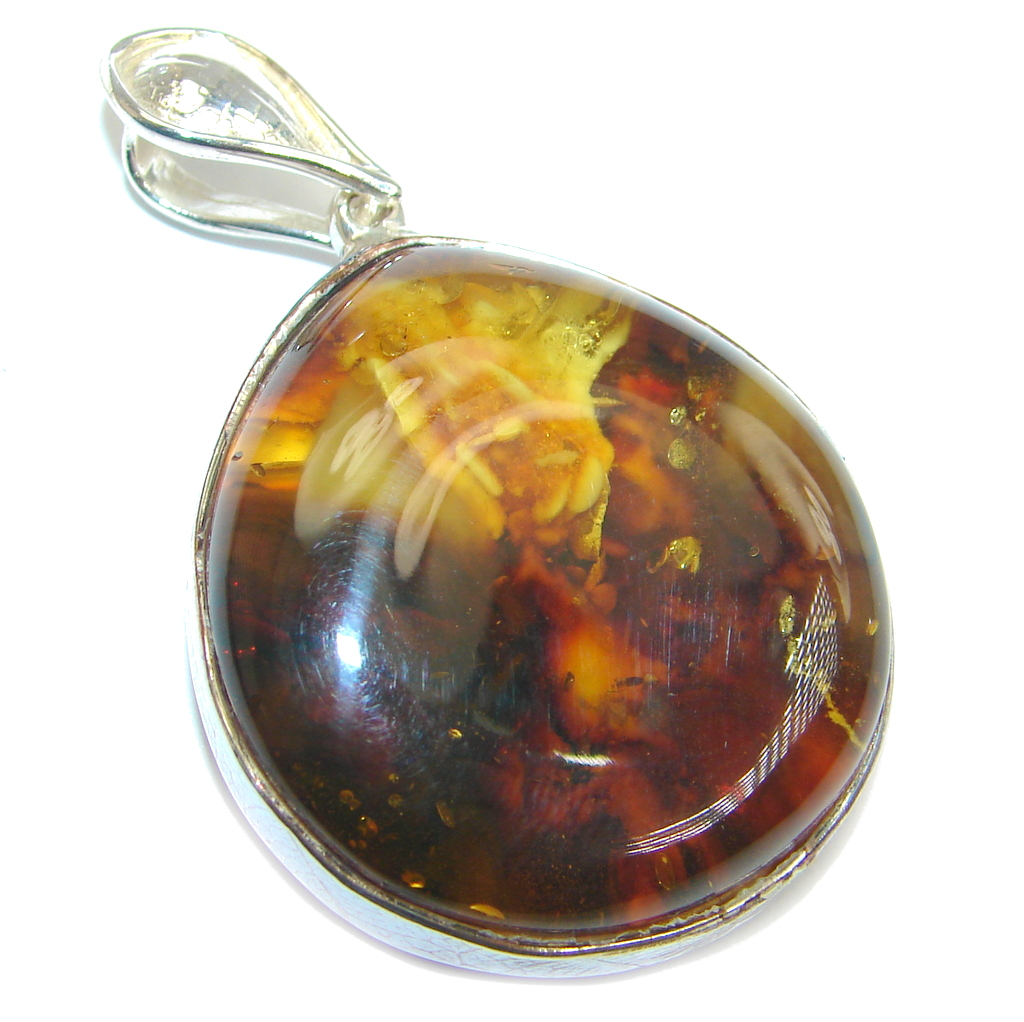 Simple Design natural Baltic Amber Sterling Silver handmade Pendant