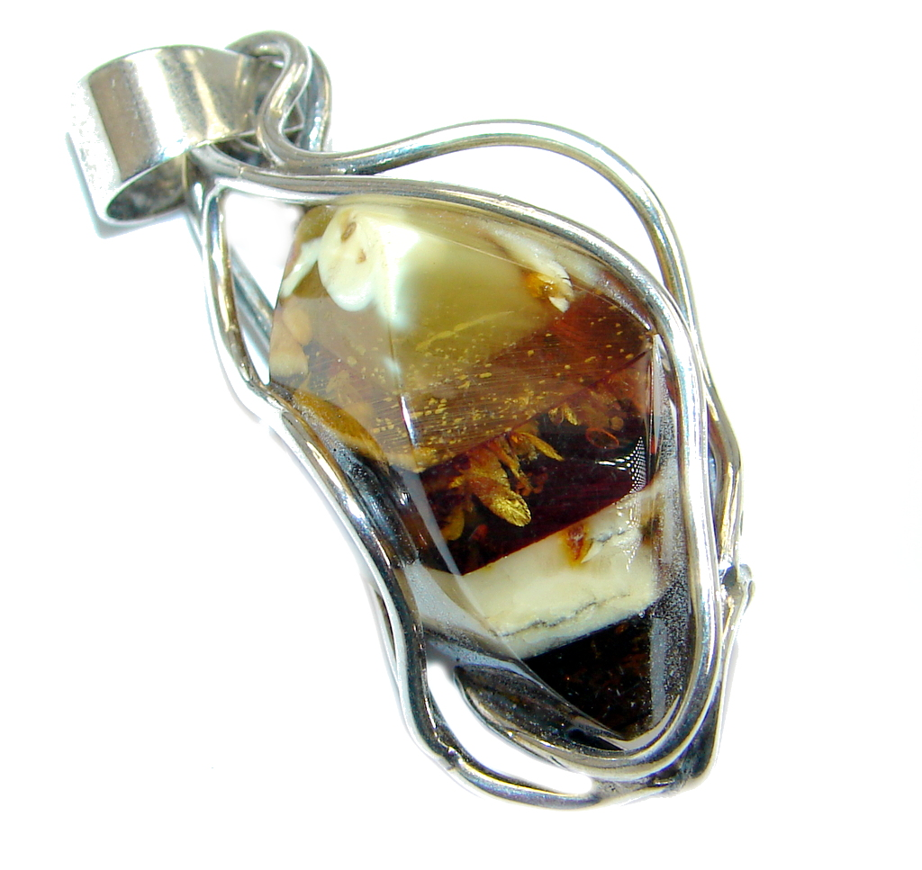 Amazing natural Baltic Amber Sterling Silver handmade Pendant