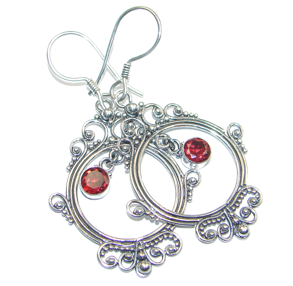 Bali Art inspired Red Garnet Sterling Silver handmade earrings