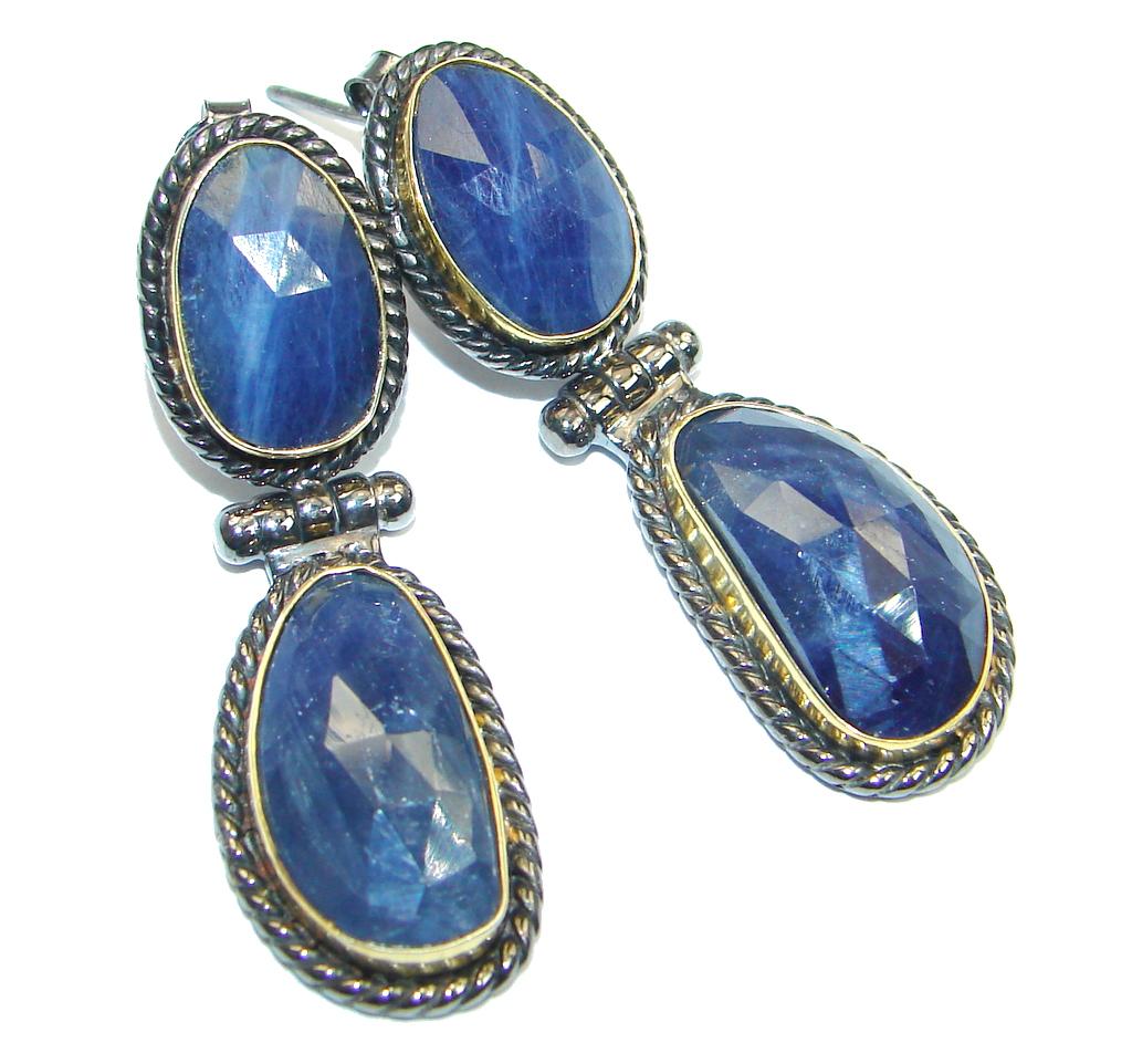 Trendy Fashion Sapphire Two Tones Sterling Silver handmade studs earrings