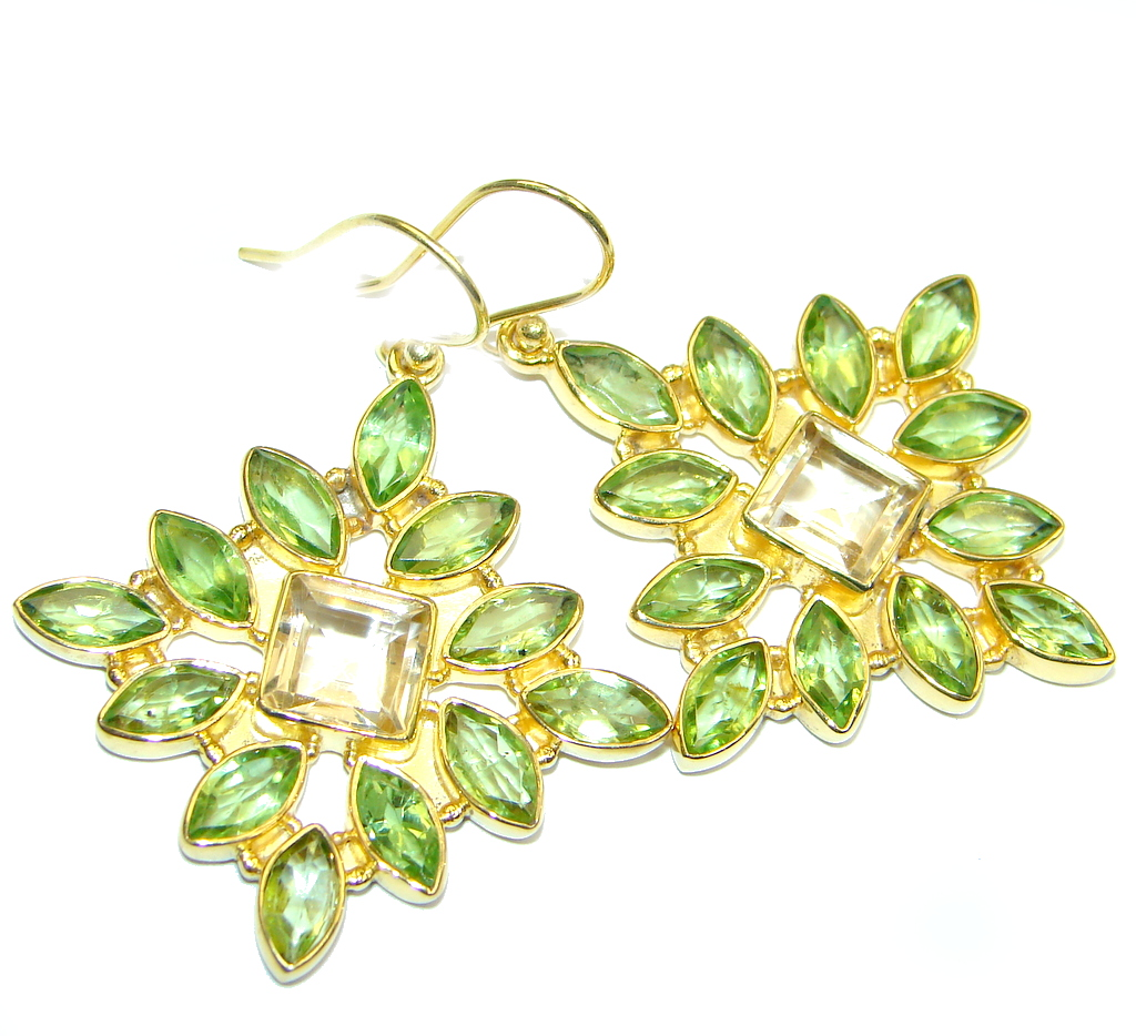Amazing genuine Peridot Gold plated over Sterling Silver Earrings