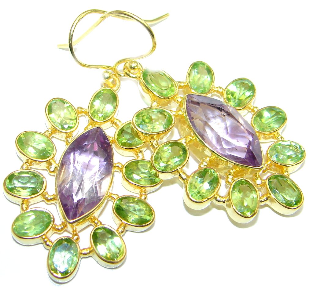 Amazing genuine Amethyst Peridot Gold plated over Sterling Silver Earrings
