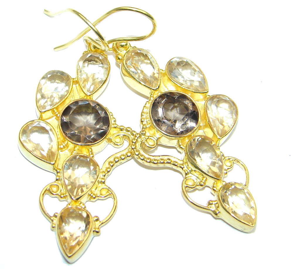 Amazing genuine Smoky Topaz Gold plated over Sterling Silver Earrings
