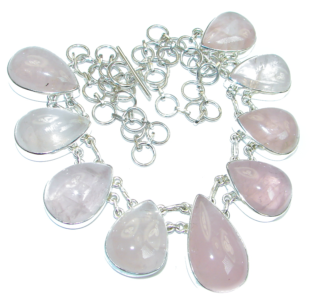 Chunky Natural Rose Quartz Sterling Silver handmade necklace
