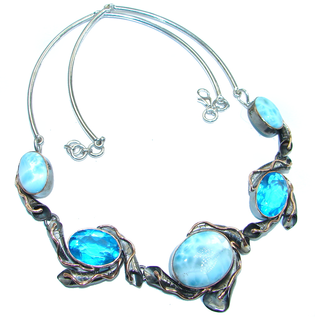 Larimar Swiss Blue Topaz Rose Gold Rhodium plated over Sterling Silver handmade necklace