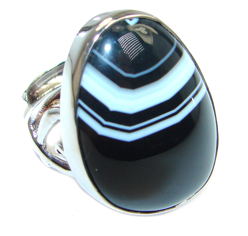 Fantastic Black Botswana Agate Sterling Silver Ring size  adjustable