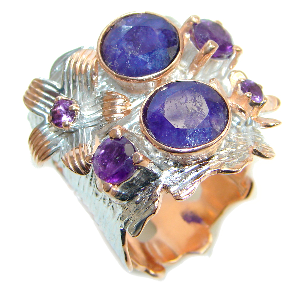 One Of the Kind Blue Sapphire & Amethyst  Sterling Silver Ring size adju..
