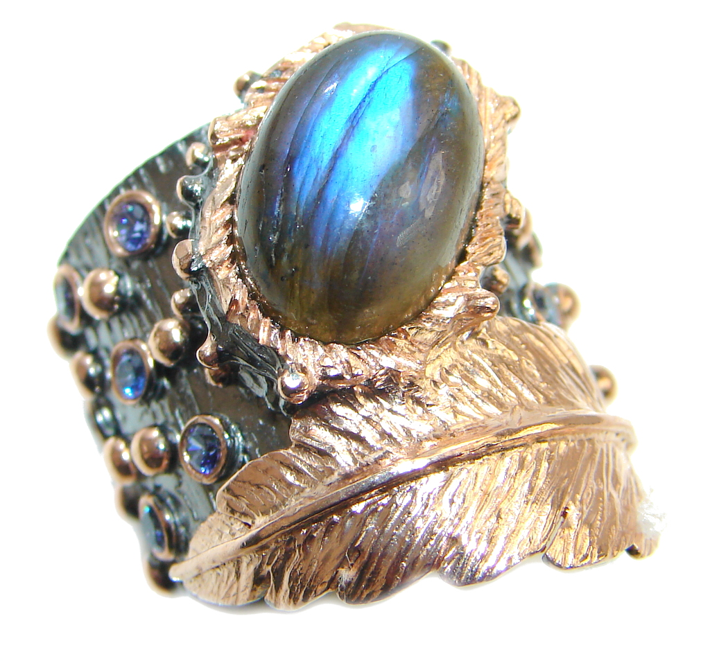 Fire Labradorite Topaz Rhodium Rose Gold plated over Sterling Silver ring size 7 1/2
