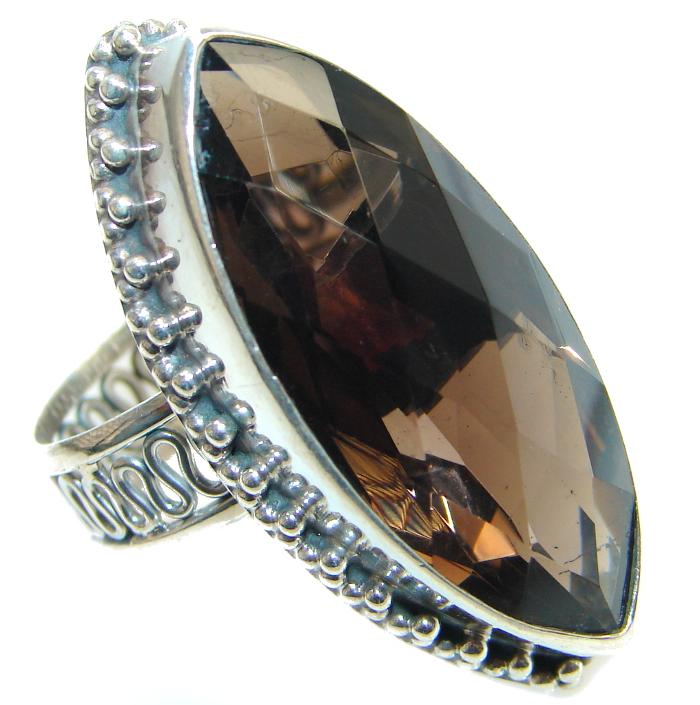 Amazing Genuine Smoky Topaz Sterling Silver ring size 9