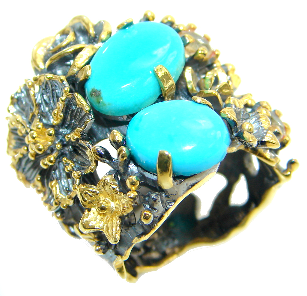 Sleeping Beauty Turquoise Gold Rhodium plated over Sterling Silver Ring size 7