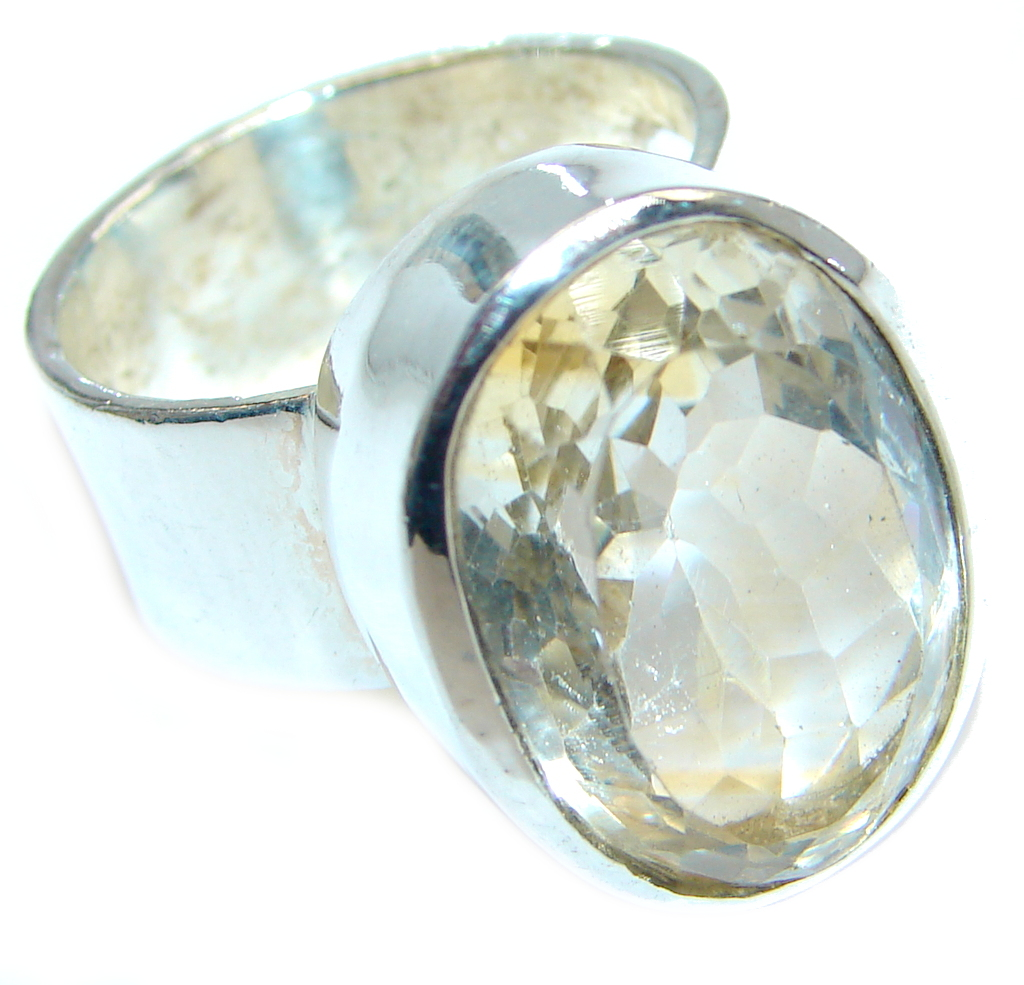 Authentic Golden Citrine Sterling Silver handmade Ring s. 6