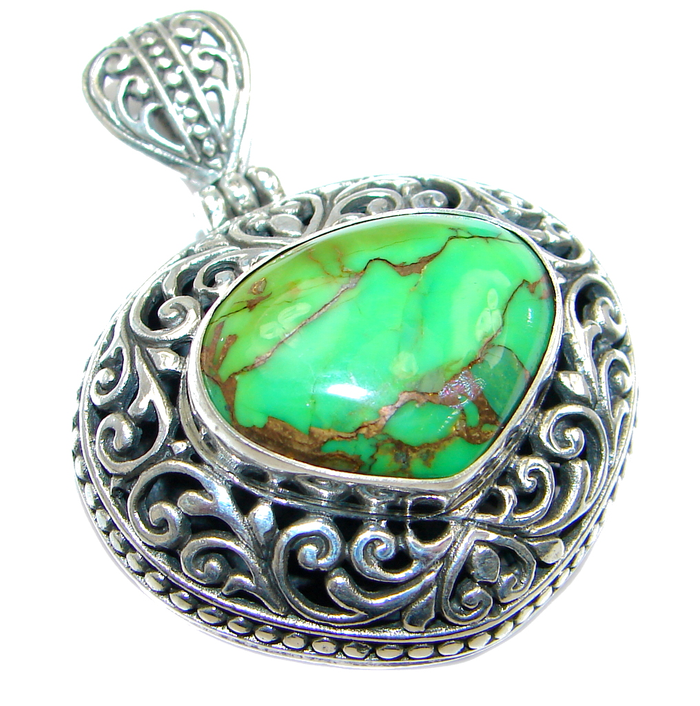 Rich Design Genuine Green Turquoise Sterling Silver handmade Pendant