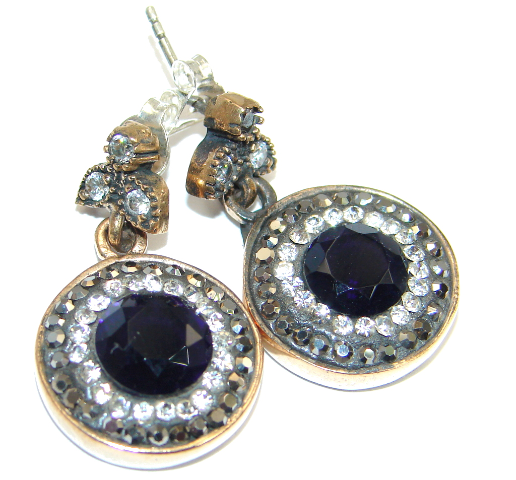 Victorian Style created Sapphire & White Topaz Sterling Silver earrings
