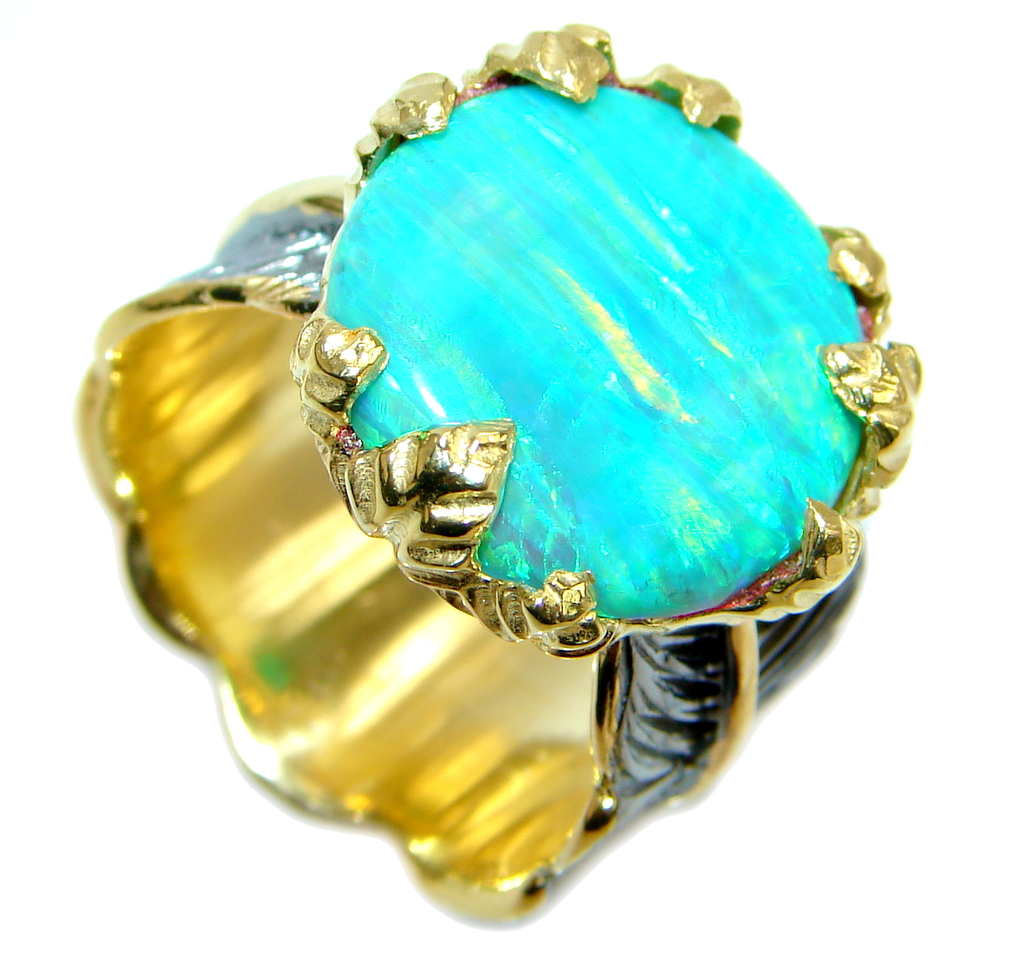 Japanese Fire Opal  Gold plated over Sterling Silver ring s. 9