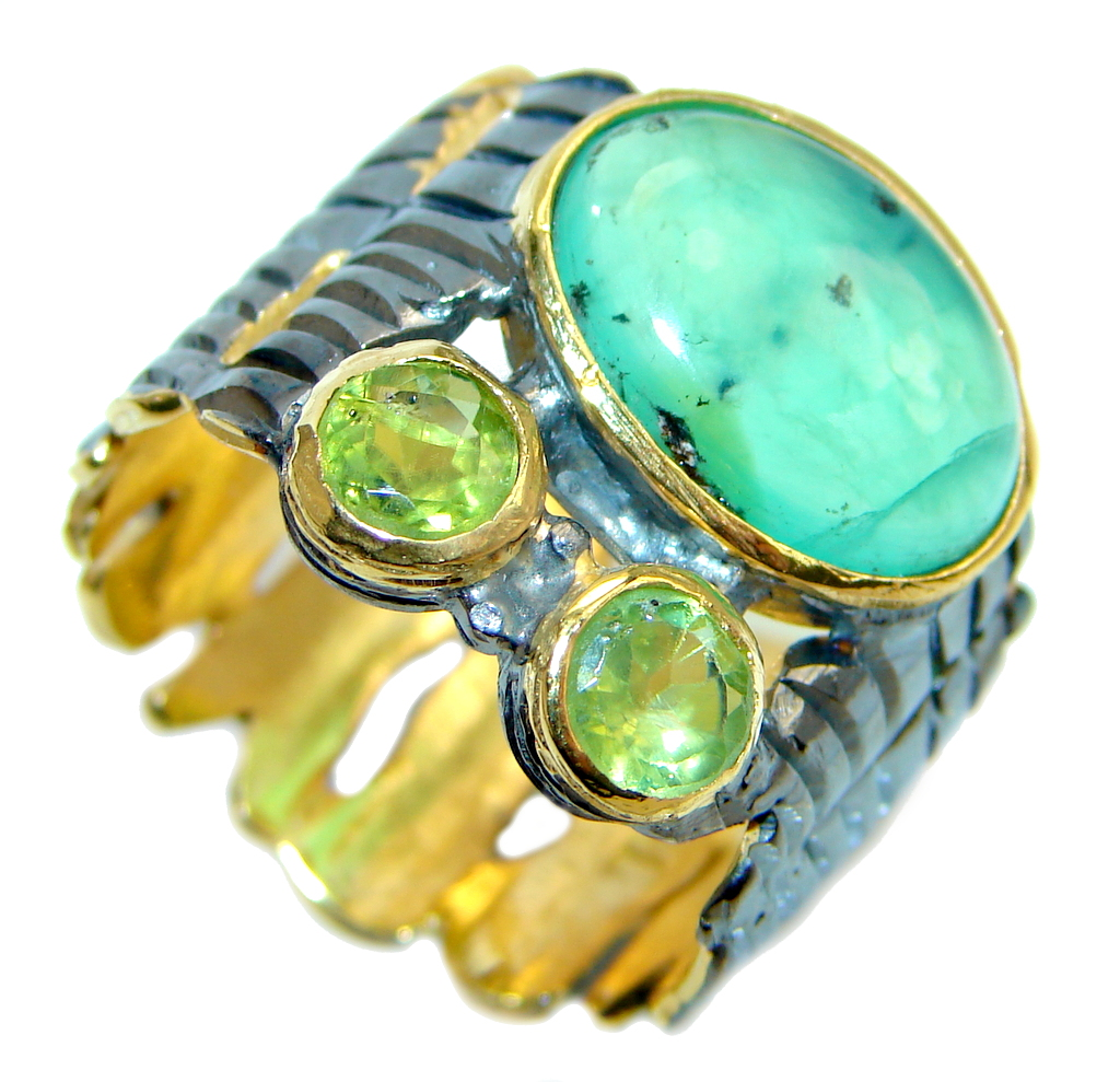 Authentic Green Chrysoprase Peridot Gold Rhodium plated over Sterling Silver ring s. 7