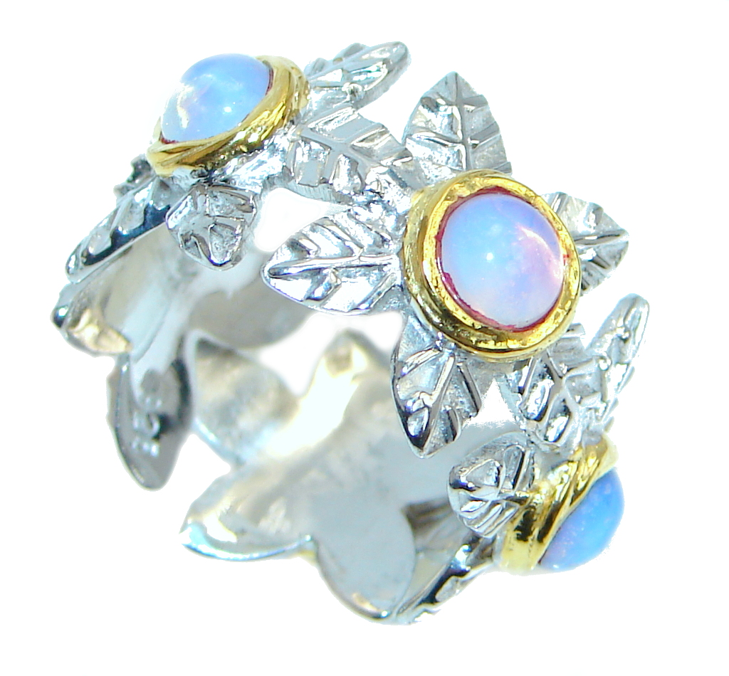Great  Beauty AAA Opalite  Gold  Rhodium Plated over Sterling Silver ring s. 7