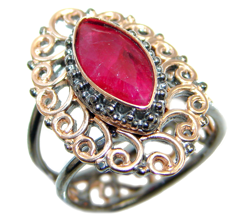 Sublime Style Ruby Rose Gold Rhodium plated over Sterling Silver ring; size adjustable