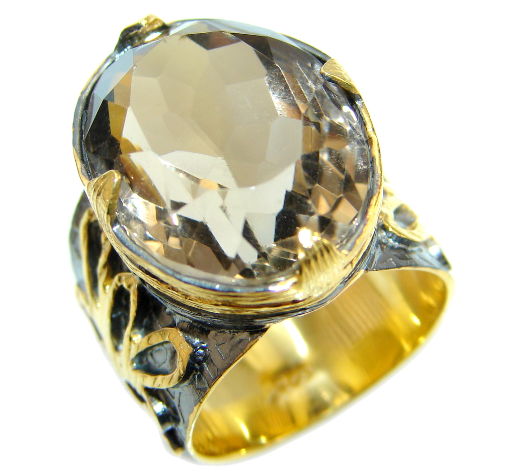 Beautiful Champagne Smoky Topaz Gold Rhodium plated Sterling Silver Ring size 7 3/4