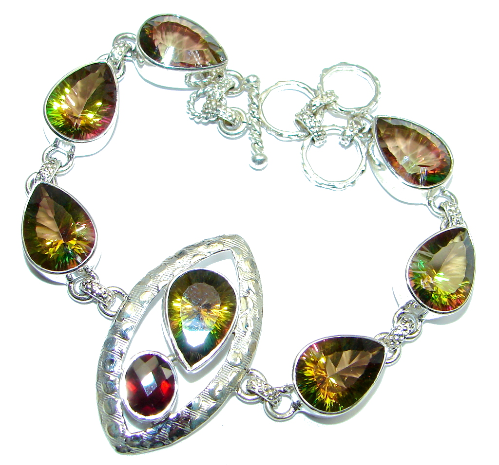 One of the kind Mystic Topaz Garnet Sterling Silver handmade Bracelet