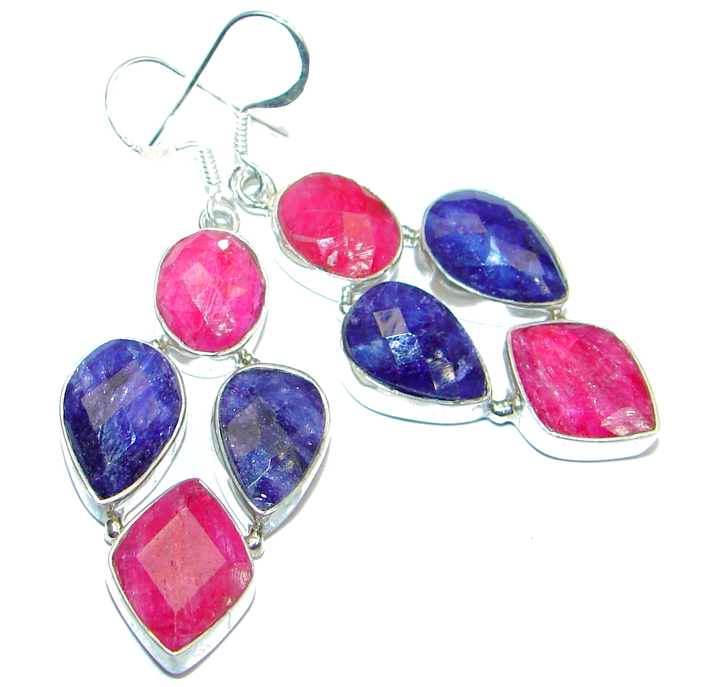 Victorian Style Saphire Red Ruby Sterling Silver earrings