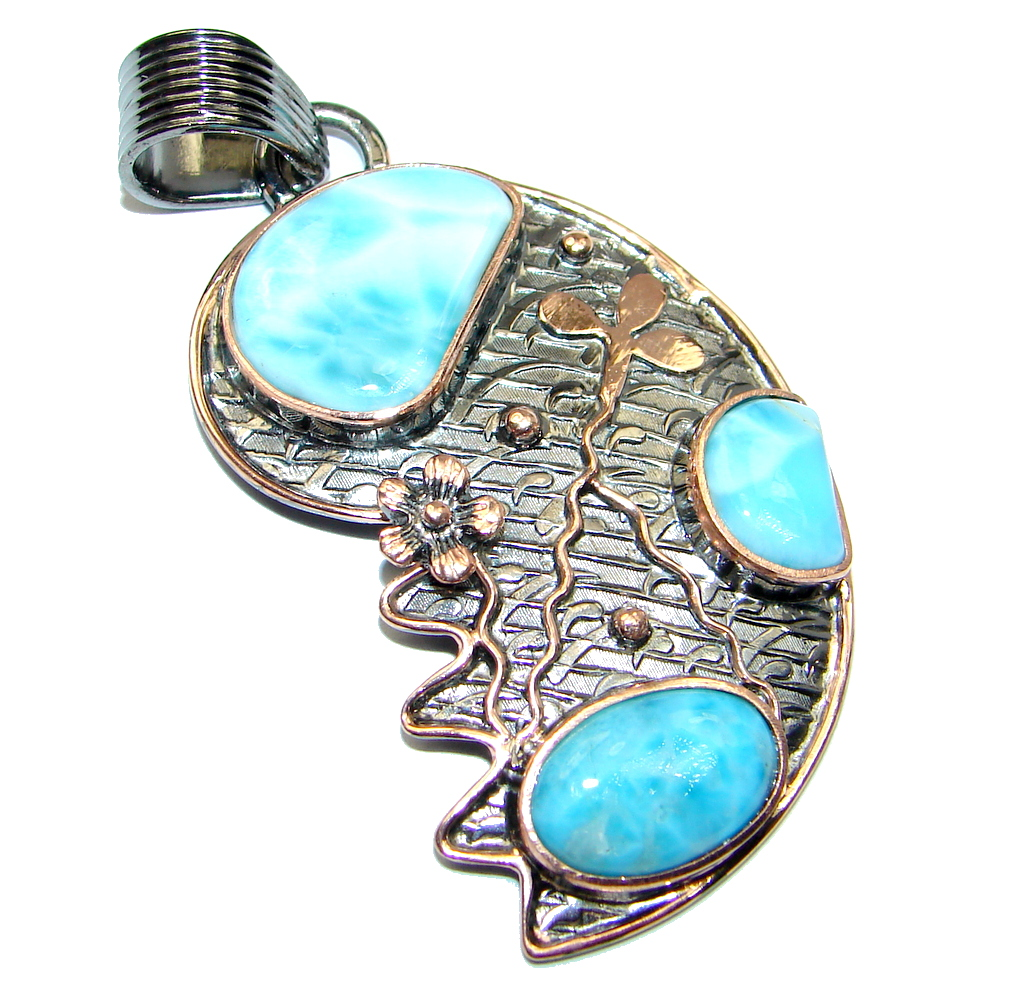 Larimar Rose  Gold Rhodium plated over Sterling Silver handmade Pendant