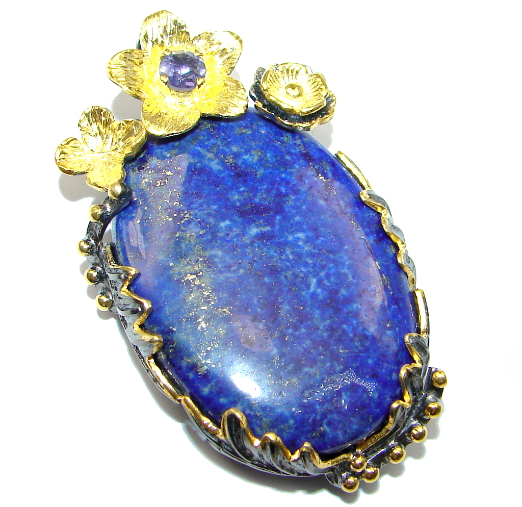 Blue Lapis Lazuli Tanzanite Gold Rhodium plated over Sterling Silver handmade Pendant