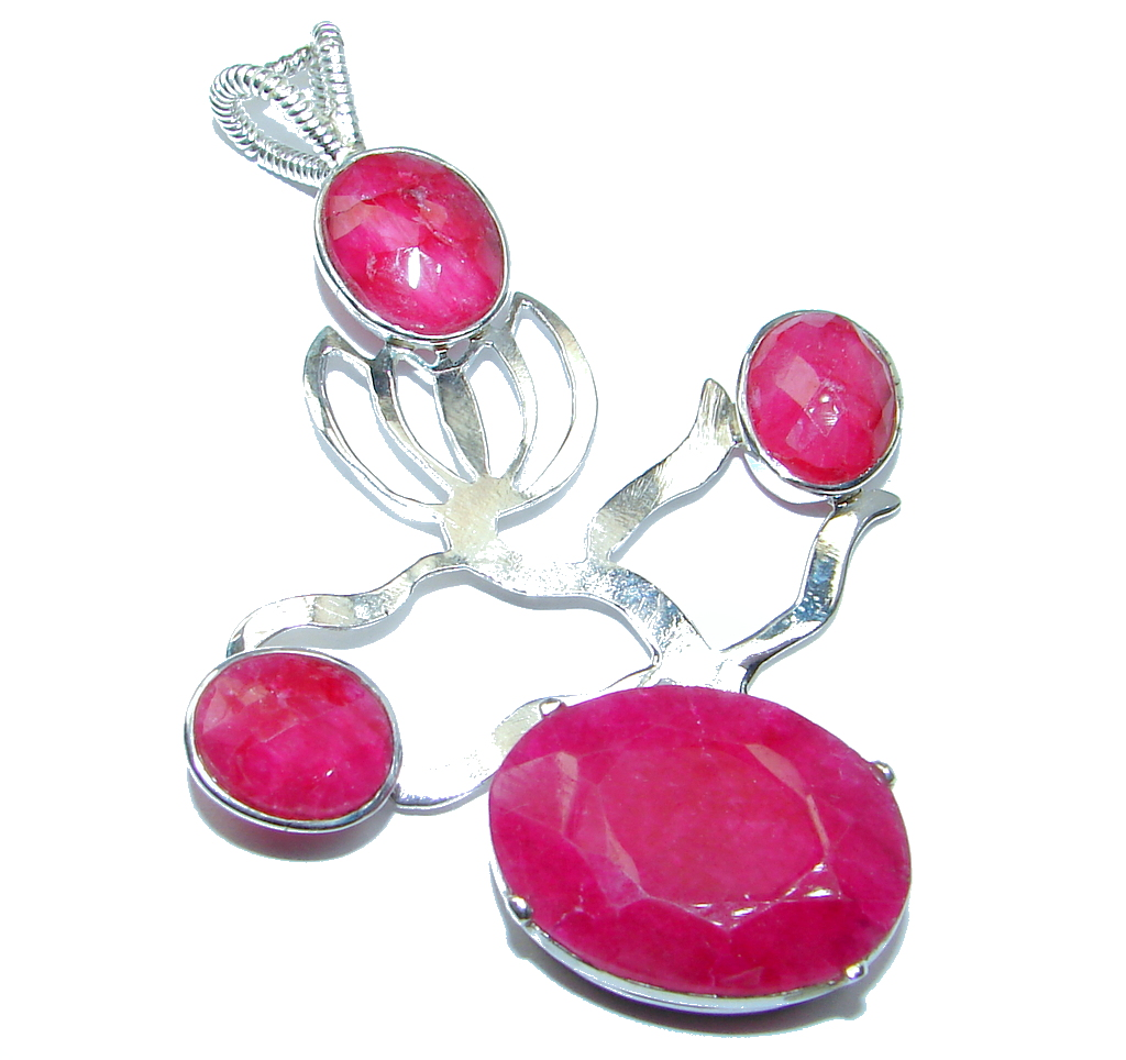 Abstract Design Red Ruby Pearl Sterling Silver handmade Pendant