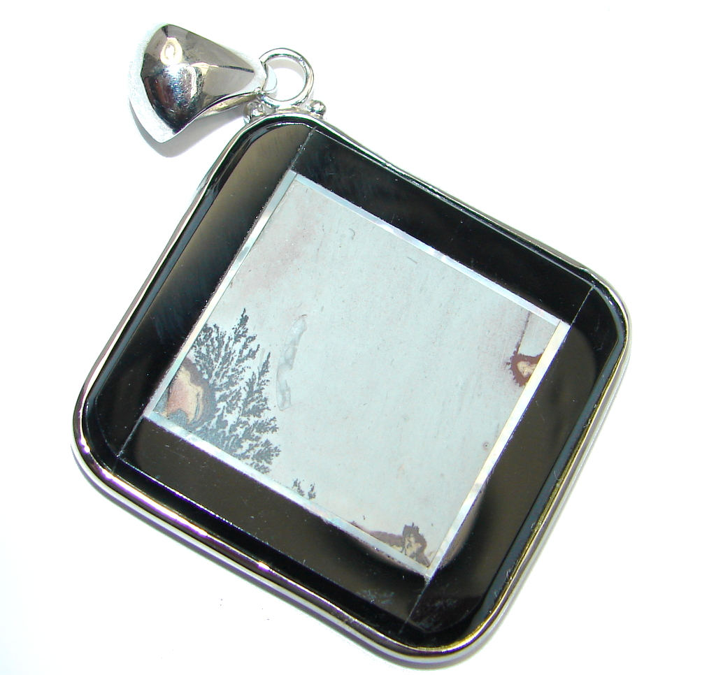 Beautiful Silver Leaf Jasper Onyx Sterling Silver Pendant