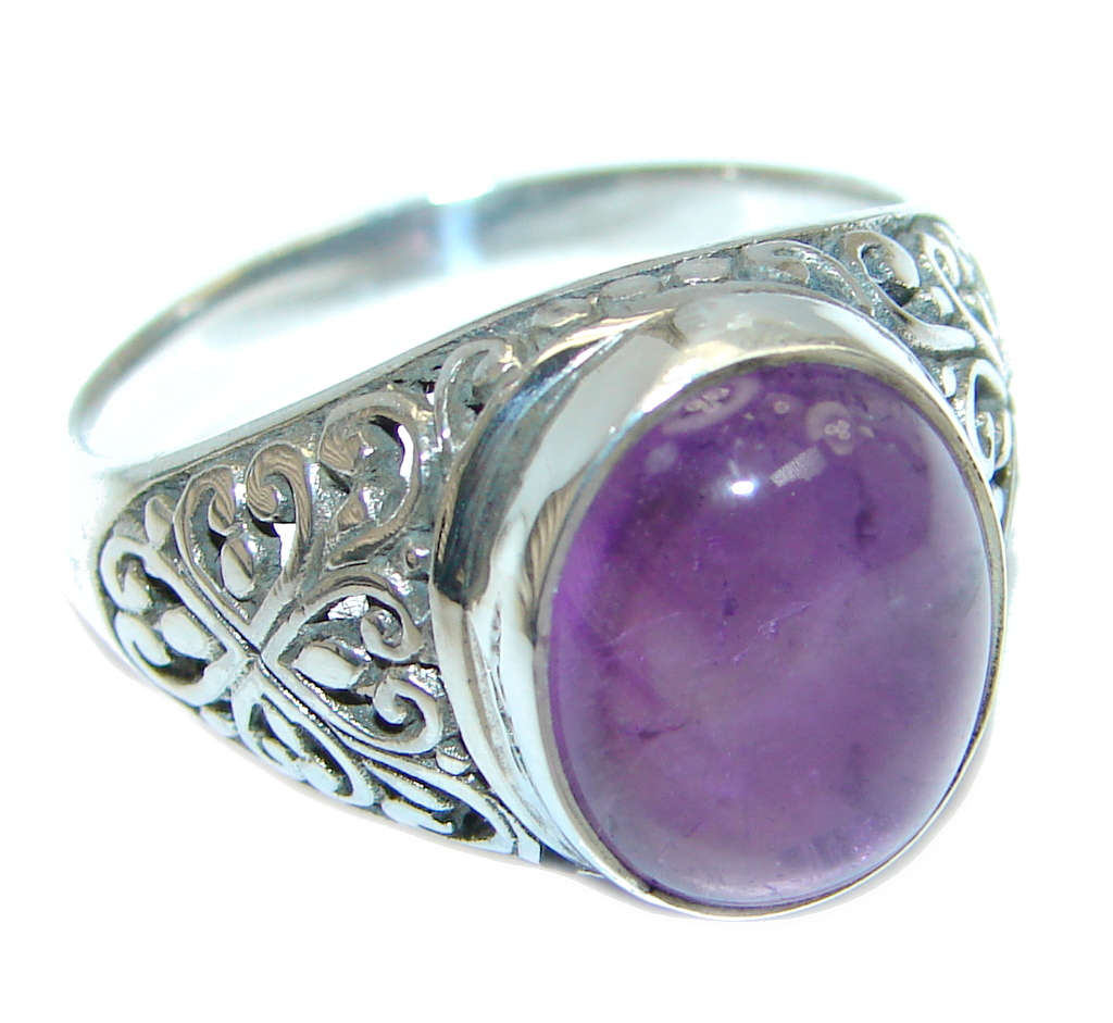 Amazing Natural Amethyst Sterling Silver handmade Ring size 8
