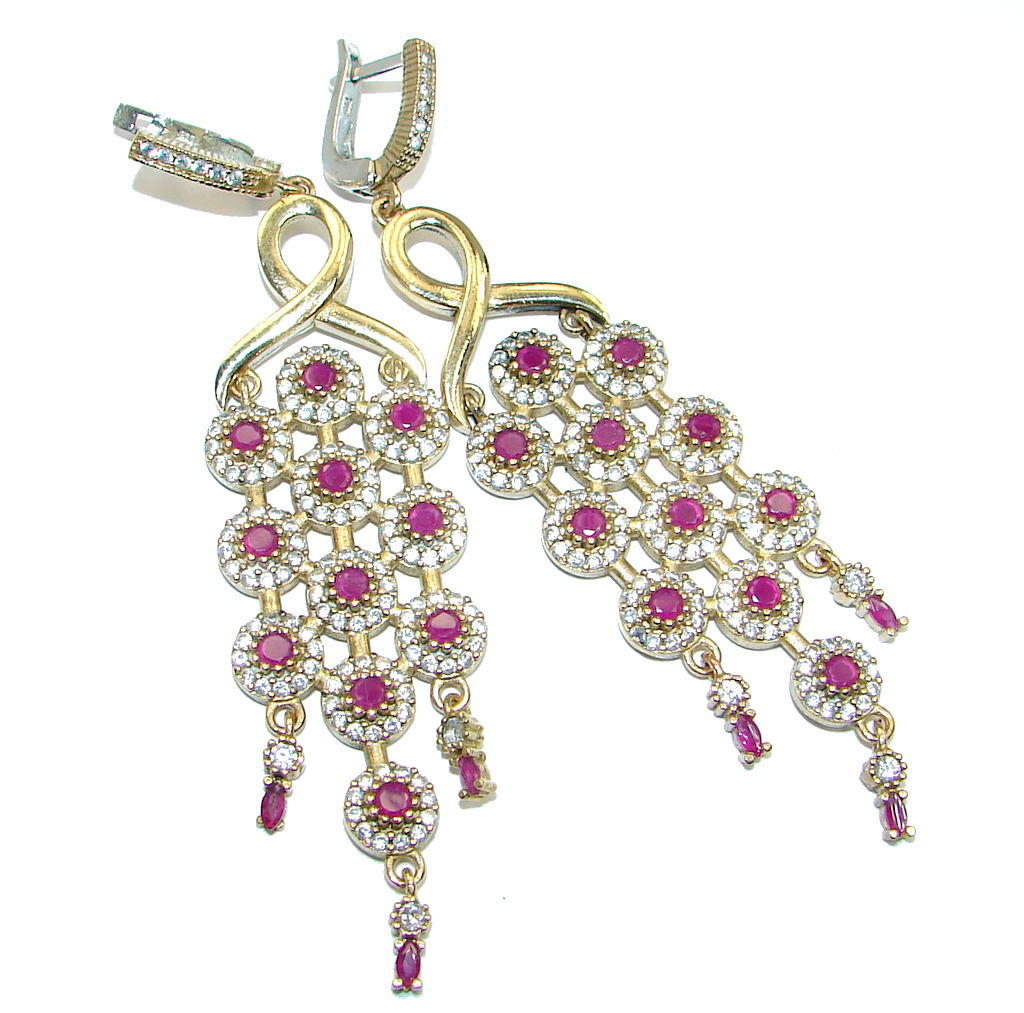Long Victorian Style Red Ruby Gold plated over Sterling Silver earrings