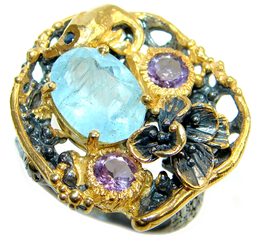 Passiom Fruit Natural 8 ct. Aquamarine Gold Plated over Sterling Silver Ring s. 8