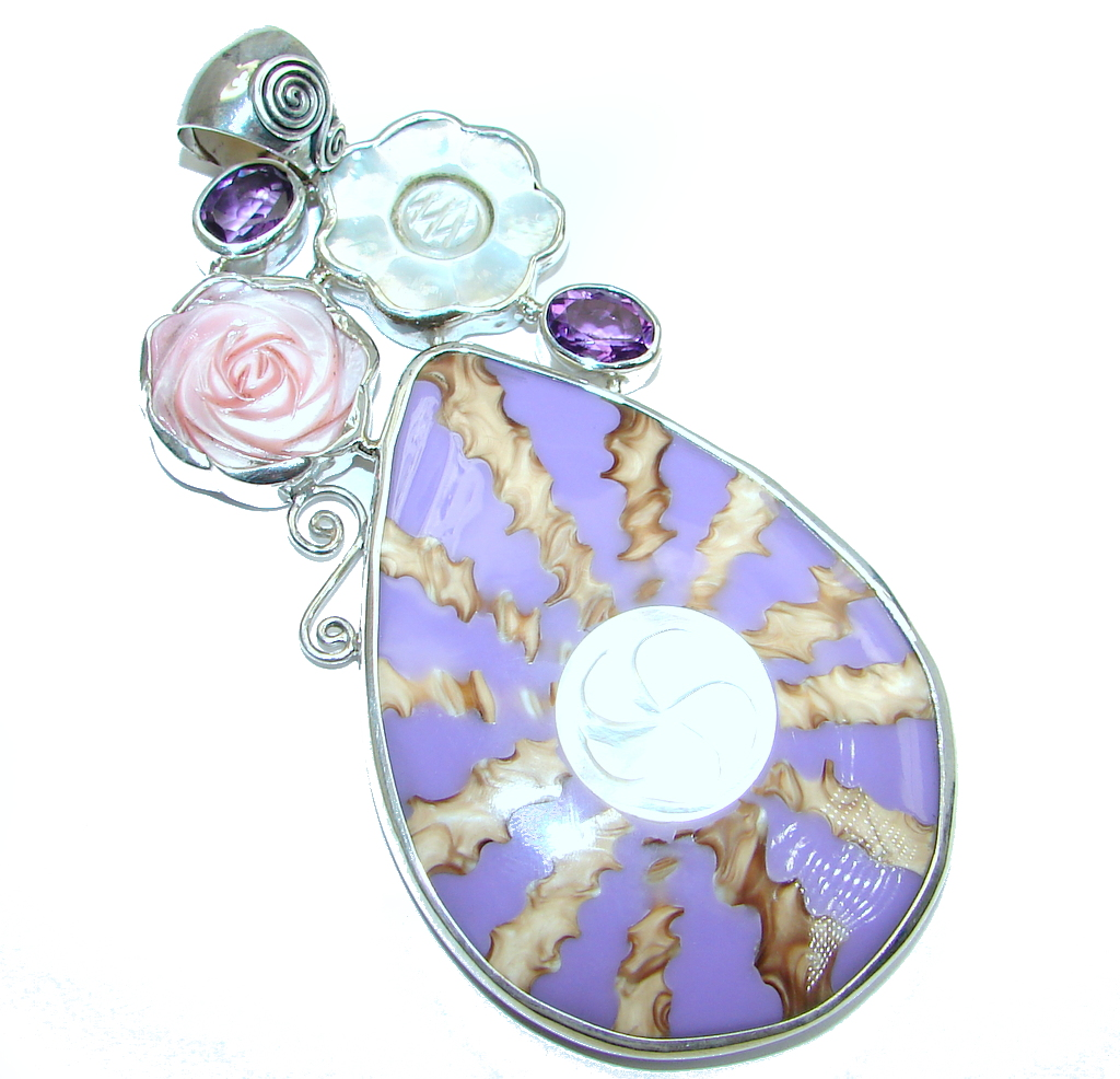 jewelpearl.com Huge Unique Purple Shell Blister Pearl Amethyst Sterling Silver Pendant