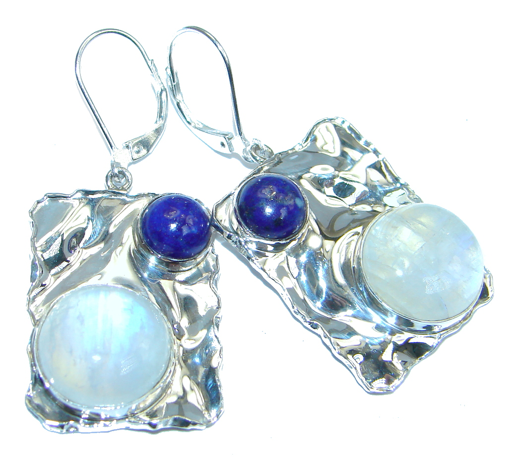 Perfect Blue Moonstone Lapis Lazuli hammered Sterling Silver earrings