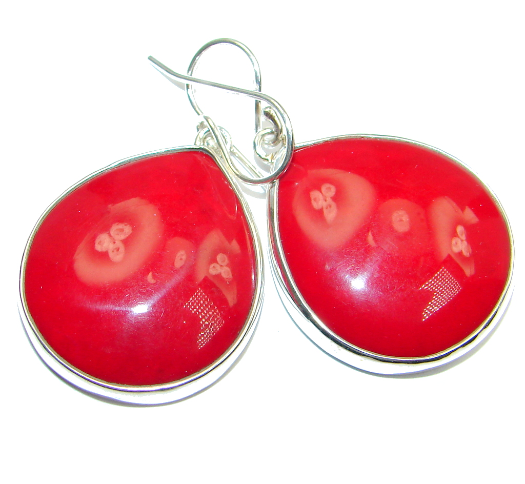 Large  Deep Love Red Fossilized Coral Sterling Silver earrings