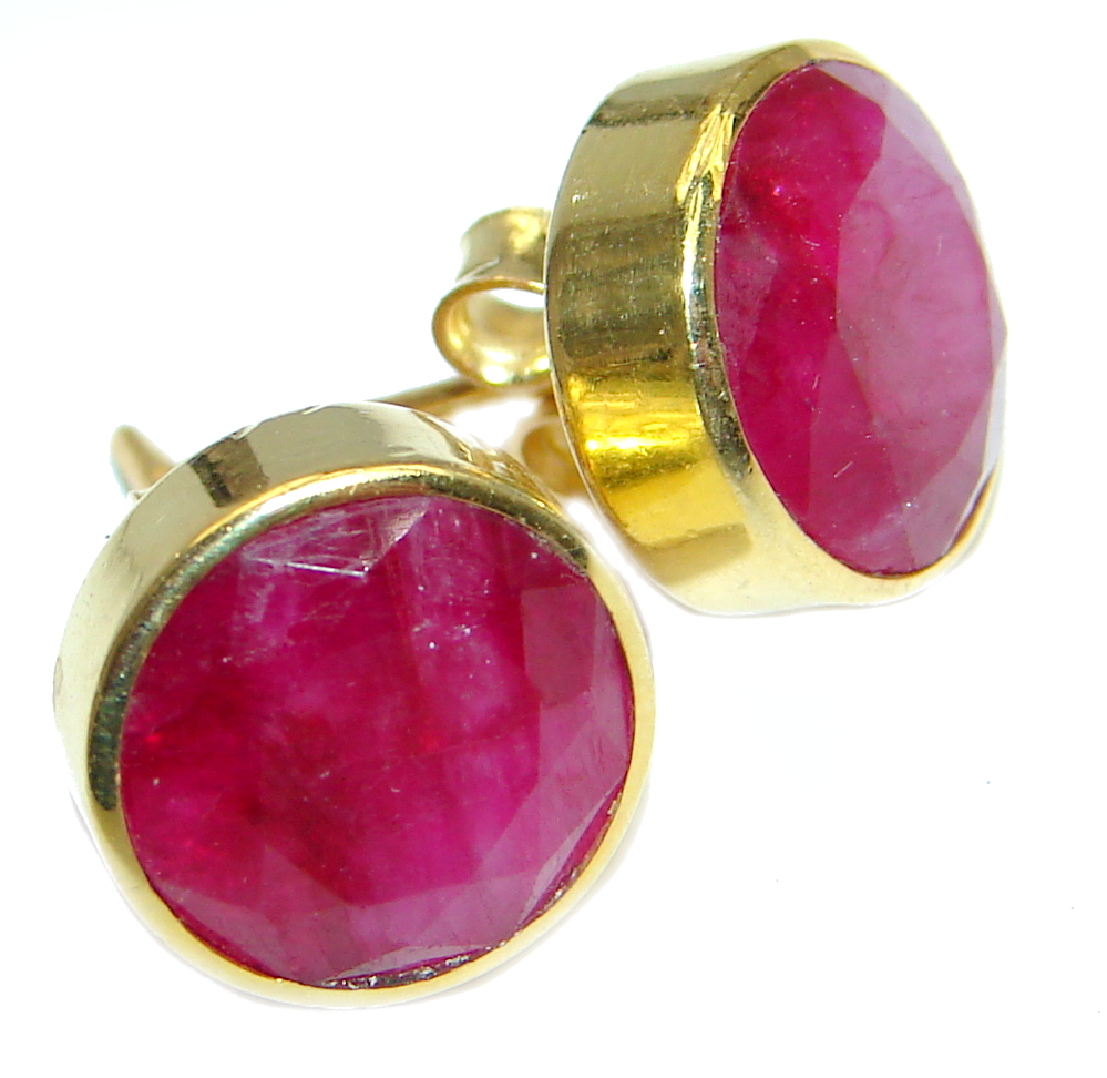 Delicate Pink Ruby Gold Plated Sterling Silver handmade earrings