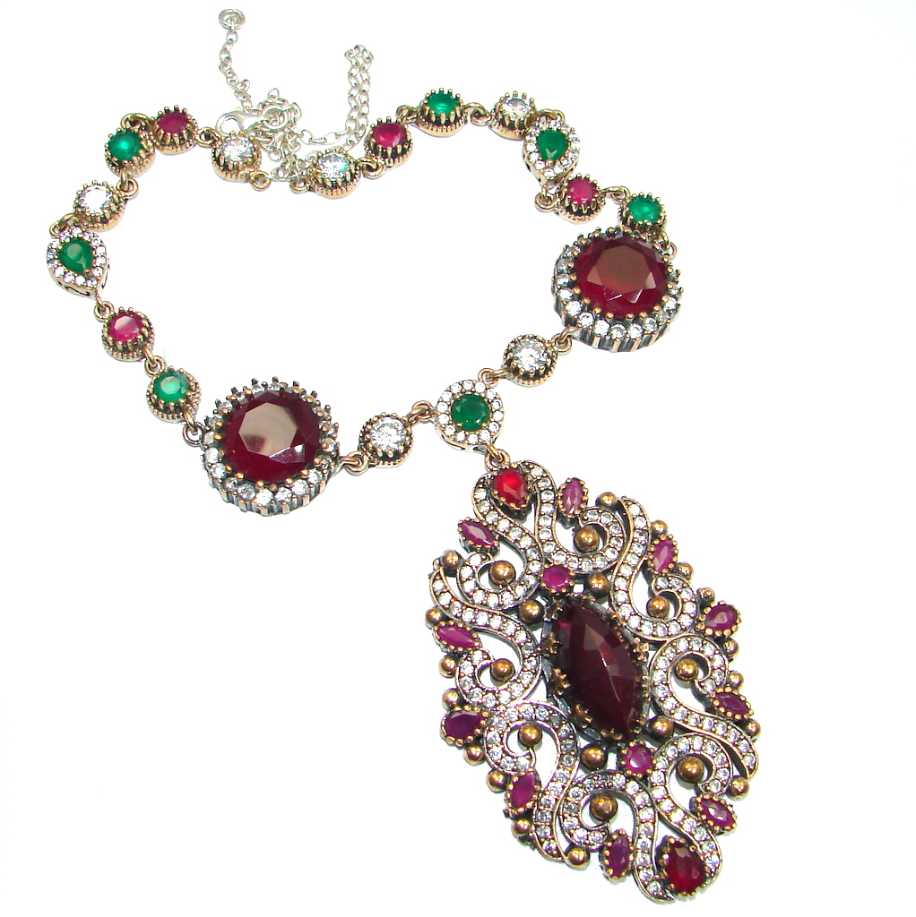 Huge Victorian created Ruby Emerald & White Topaz Sterling Silver necklace