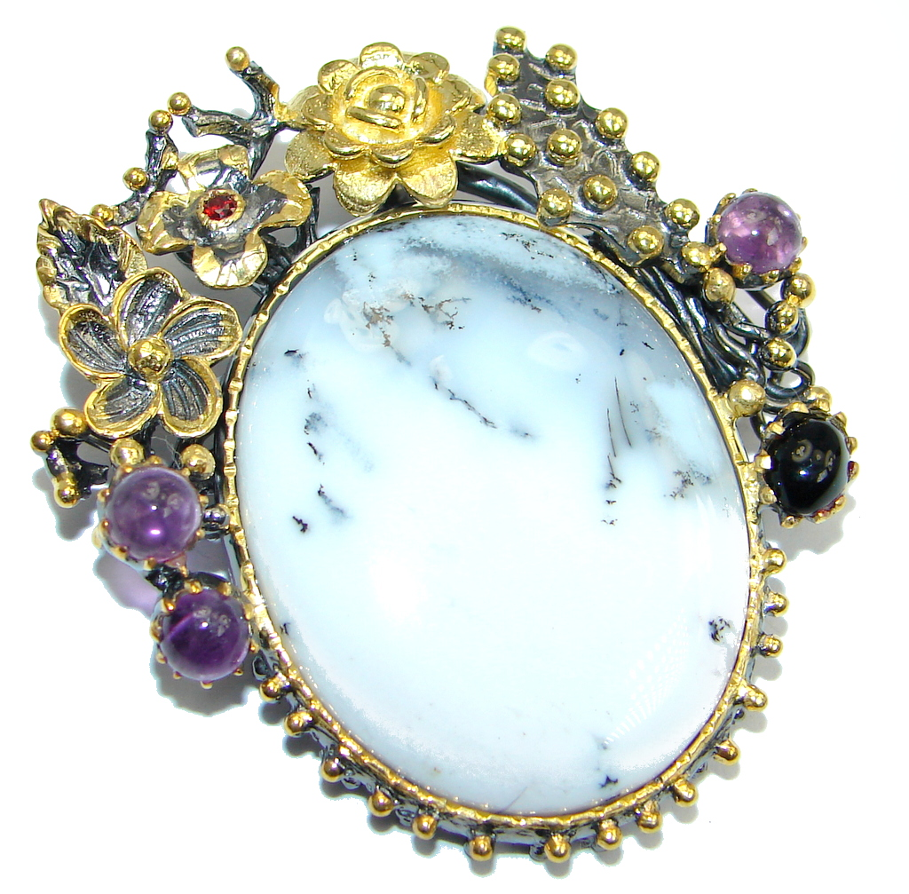 Perfect Dendritic  Agate  Amethyst Gold plated over Sterling Silver handmade..