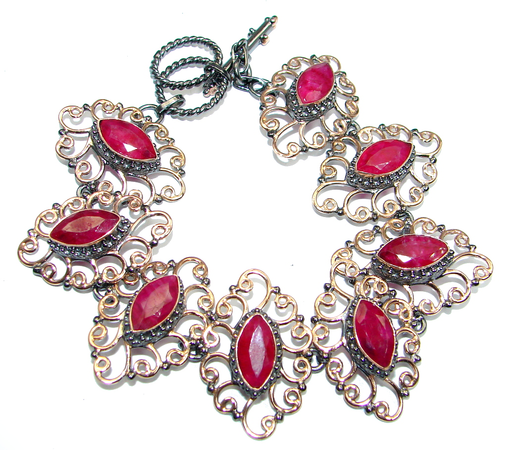 Great Red Ruby Rose Gold Rhodium plated over over Sterling Silver Bracelet